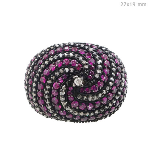 Pave Diamond Ruby Gold Ring