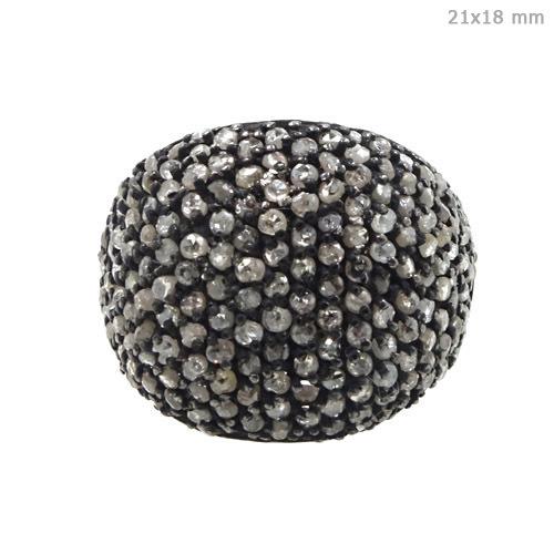 Silver Diamond Pave Ring