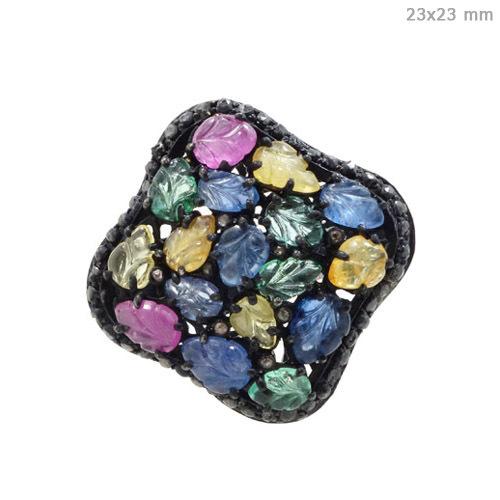 Multi Tourmaline Diamond Gold Ring