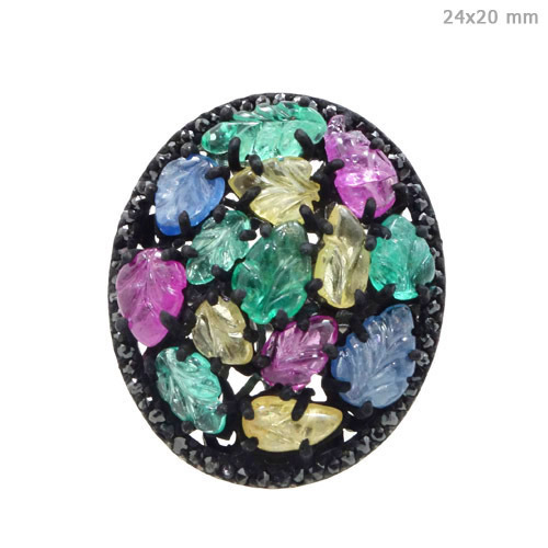 Diamond Multi Tourmaline Silver Ring