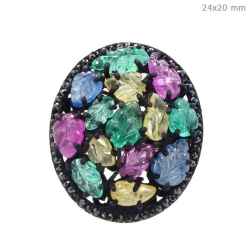 Diamond Multi Tourmaline Silver Ring