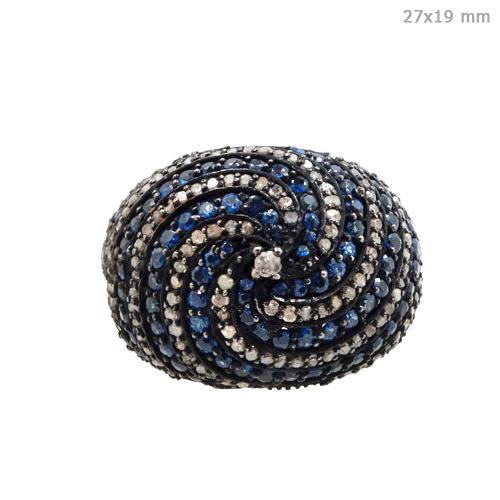 Blue Sapphire Pave Diamond Ring