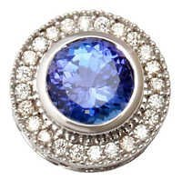 customise jewelry manufacturer from india, bezel set tanzanite pave diamond unisex pendant
