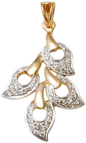 new design wholesale real gold jewelery, Four Leaves Shaped gold diamond pendant