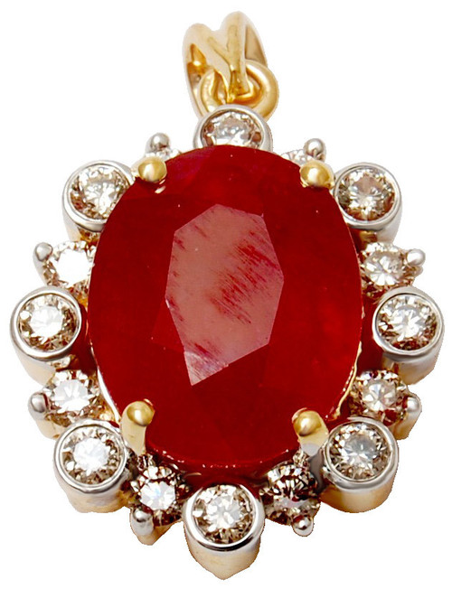 Solid 18k White Gold Plated oval Shaped Ruby Pendant, girls ruby diamond gold pendant