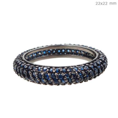 Silver Blue Sapphire Gemstone Ring