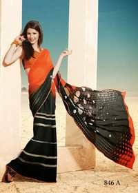 Orange & Black  Sarees