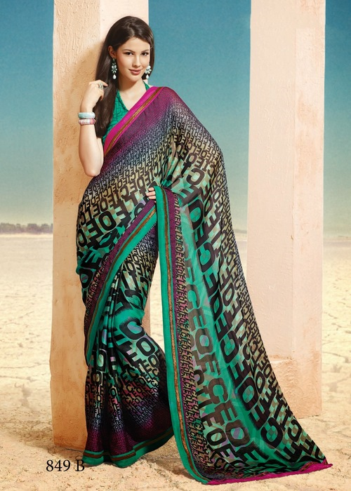 Green Georgette Sarees