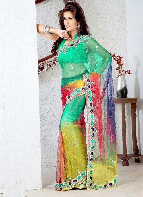 Multicolor Net Saree