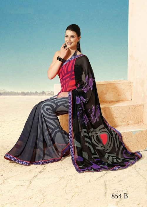 Grey Georgette Sarees