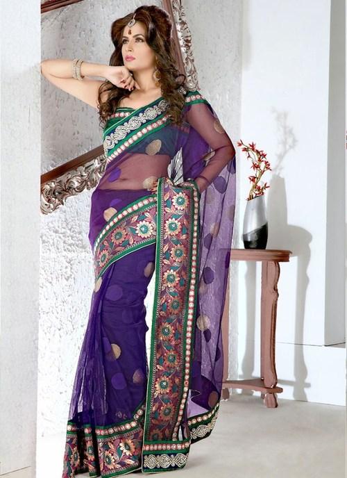 Purple Juth Net Saree