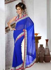 Designer Royal Blue Saree