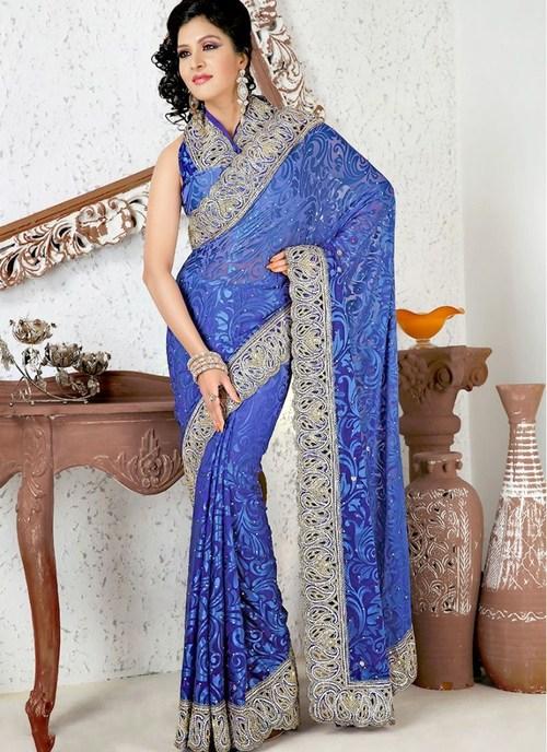Light Dark Royal Blue Saree