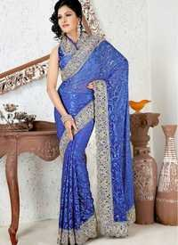 Light Dark Royal Blue Saree