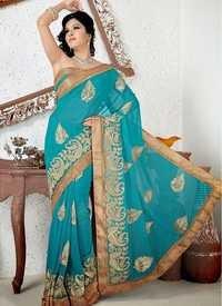Designer Turquoise Saree