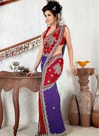 Red And Purple Saree