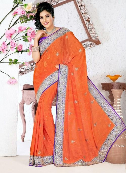 Designer Orange Saree