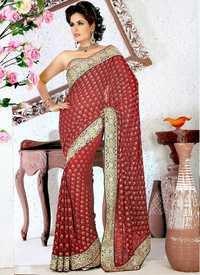 Designer Maroon Saree