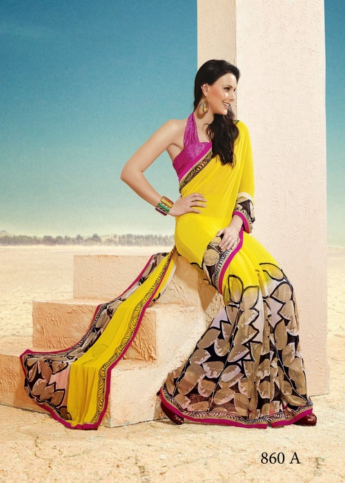 Yellow Chiffon & Georgette Sarees