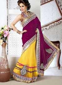 Yellow And Magenta Saree