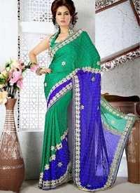 Green And Royal Blue Saree