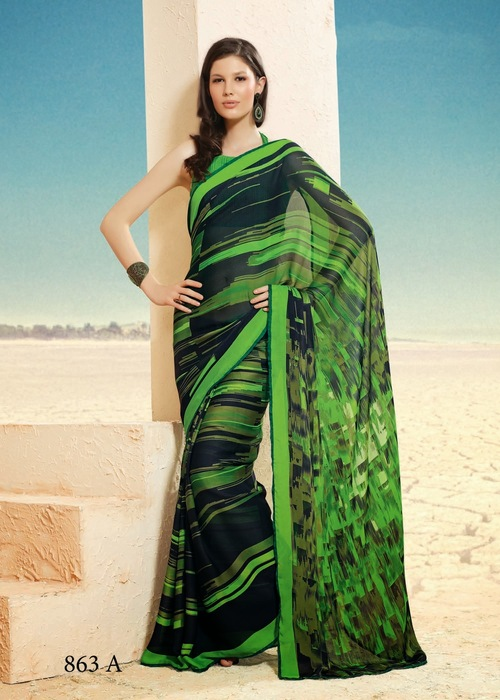 Green Print Fancy Saree