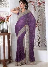 Light Dark Purple Saree
