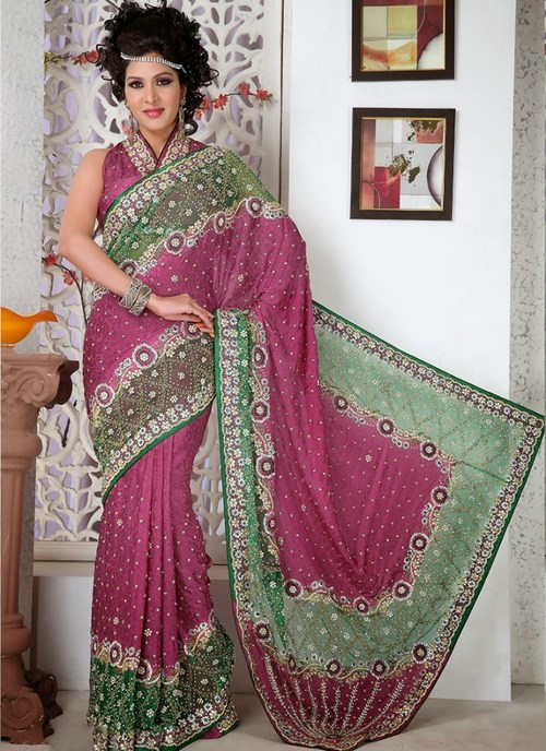 Designer Magenta Saree