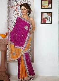Designer Magenta And Mustard Saree