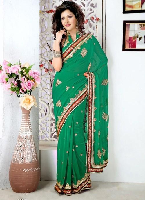 Designer Green Saree