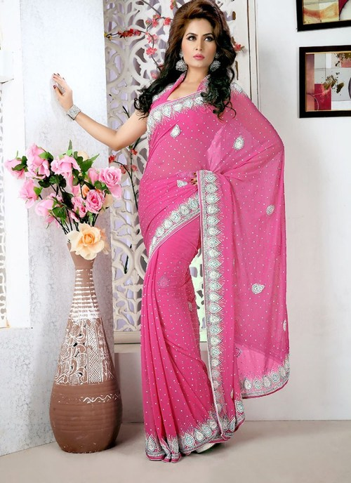 Designer Peach Saree