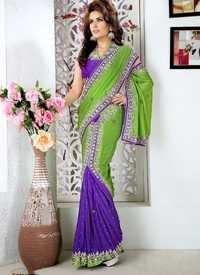 Mehndi And Purple Saree