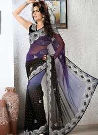 Gray And Black Designer Saree