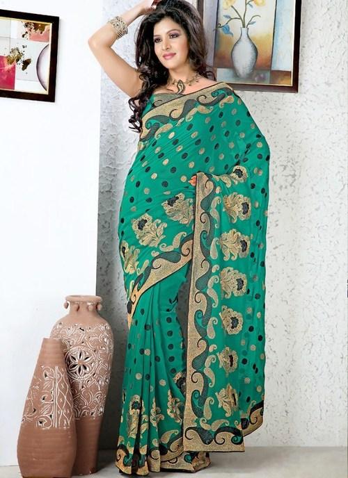 Designer Sea Green Saree