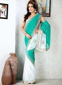 Sea Green And White Saree