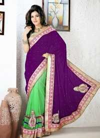 Purple and parrot Saree