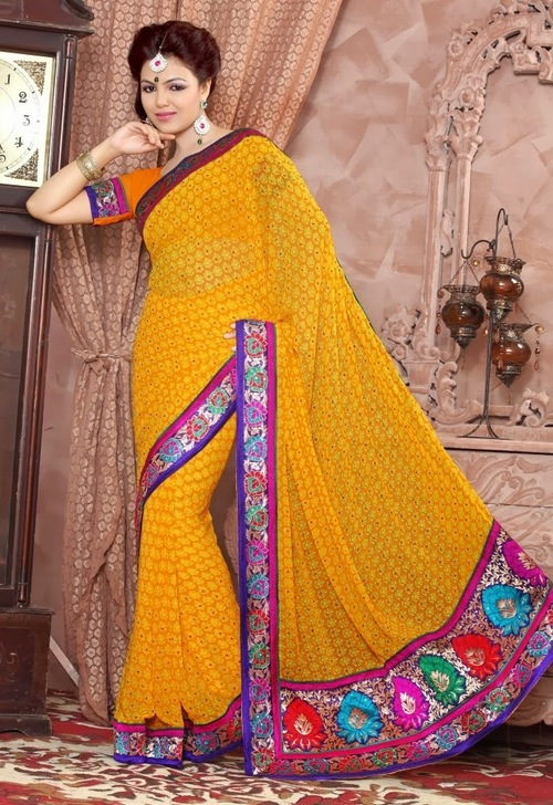 Yellow Georgette Sarees