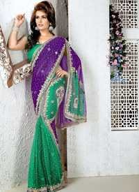 Green And Purple Net Saree