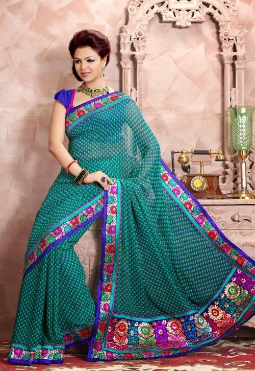 Green Colour Net Saree