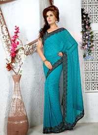 Turquoise Designer Saree