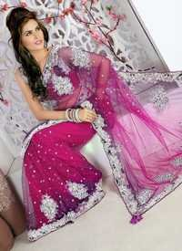 Pink And Purple Designer Saree