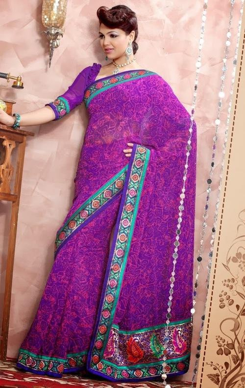 Purple Designer Georgette Sarees
