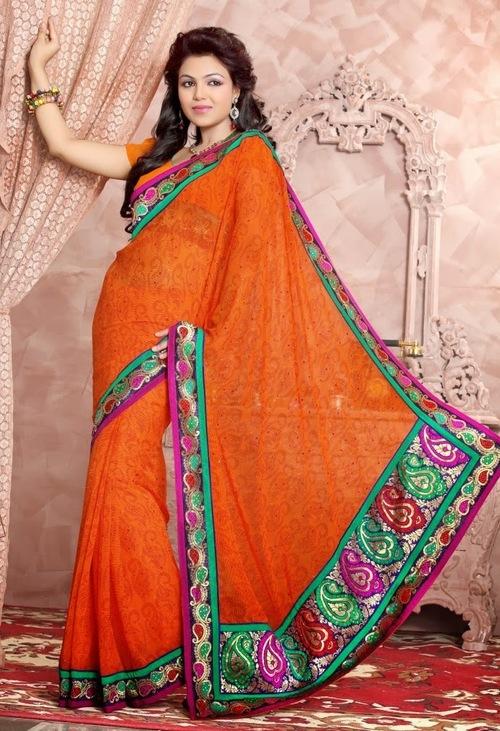 Orange Designer Sarees