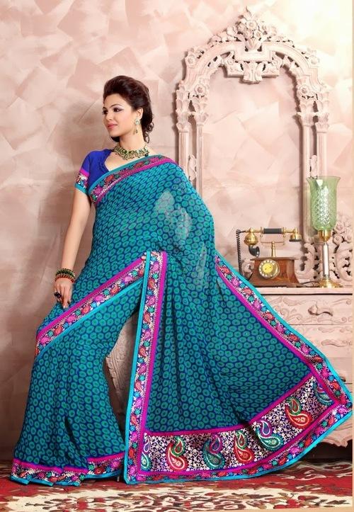 Dark Blue Designer Saree