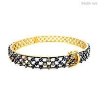 Blue Sapphire Diamond Bangle