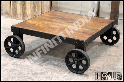 Wood Iron Cart Coffee Table