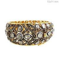 Rose Cut Diamond Gold Bangle Jewelry