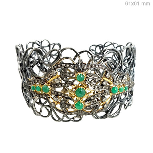 Diamond Emerald Gold Bangle