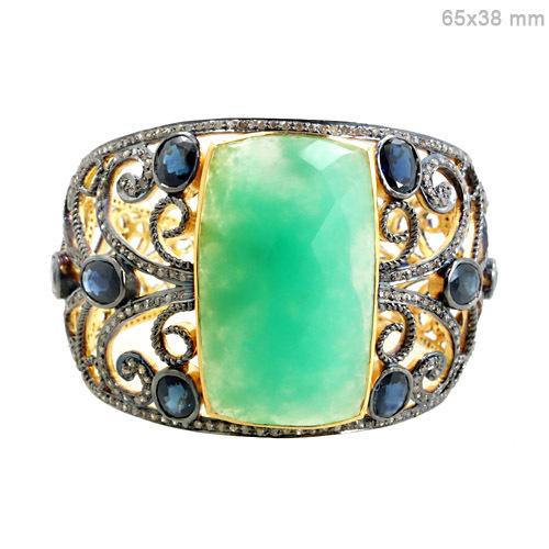 Diamond Gemstone Gold Bangle