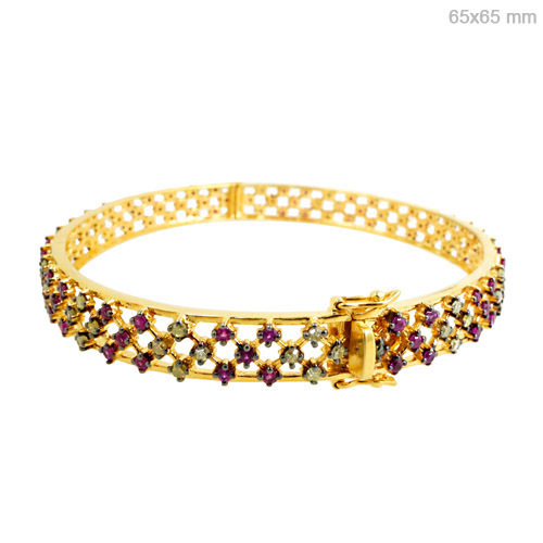 Diamond Ruby Gold Bangle